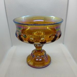 Vintage Amber Carnival Glass King's Crown Compote